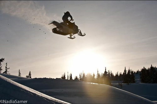 Stephanie Sweezey from Whistler shreds on her sled
