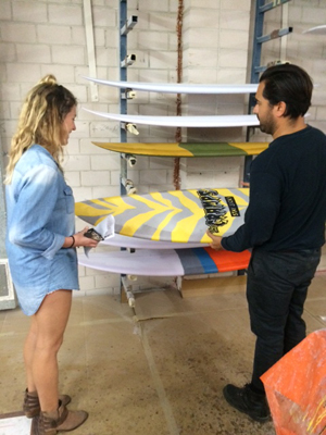 Buying a surfboard at Misfit Shapes