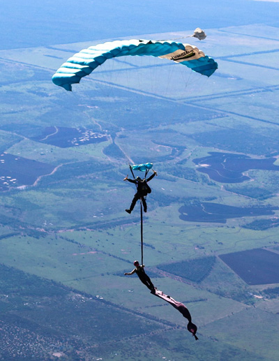 Performing and aerial silk from 14,000 feet