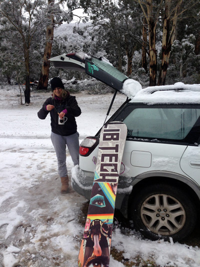 Camping in the snow Australia