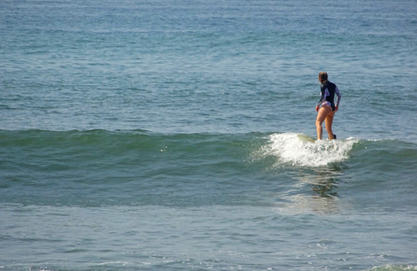 Finished surfing a wave and looking for the next one on the horizon