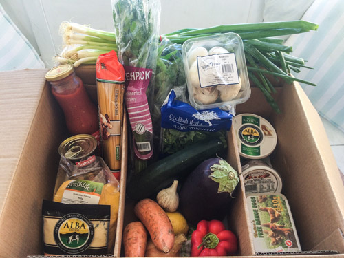 A delivery of an Aussie Farmers Direct Fresh Box - ready to cook dinner!