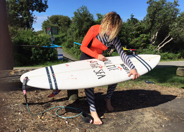 Getting ready for a surf in a funky Glide Soul winter wetsuit