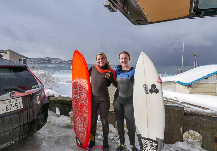 Surfing in the snow in Hokkaido Japan during winter