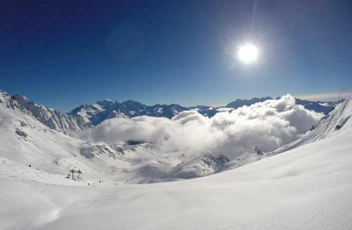 Cloud inversions in the mountains Verbier.