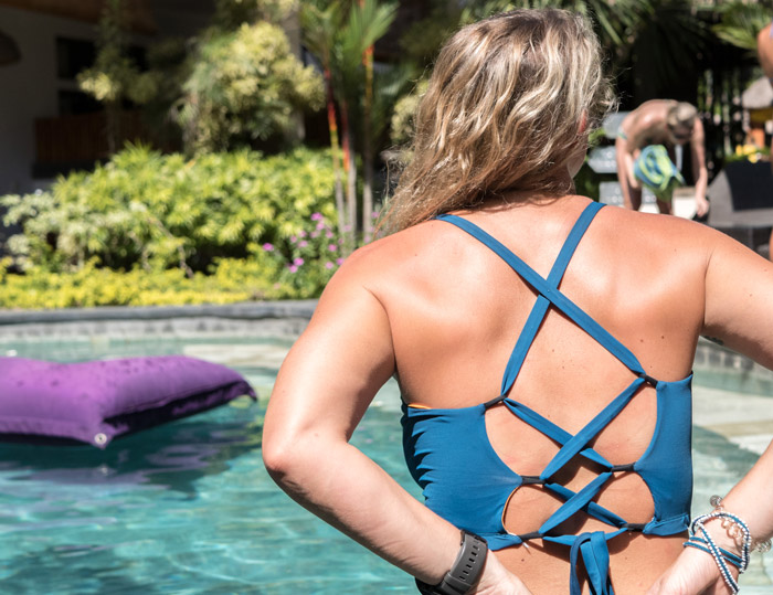 The ALEXA surf bikini designed for large bust small frame, with fully adjustable straps