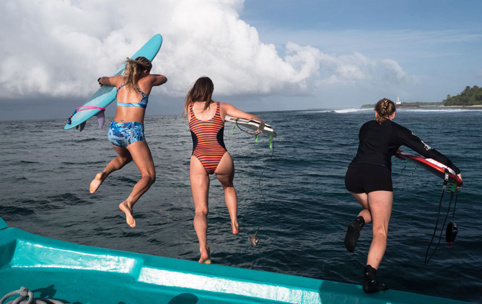 Girl surf trip to the Maldives
