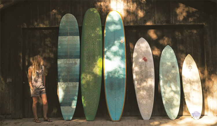 Surf boards by a beach house surf shack