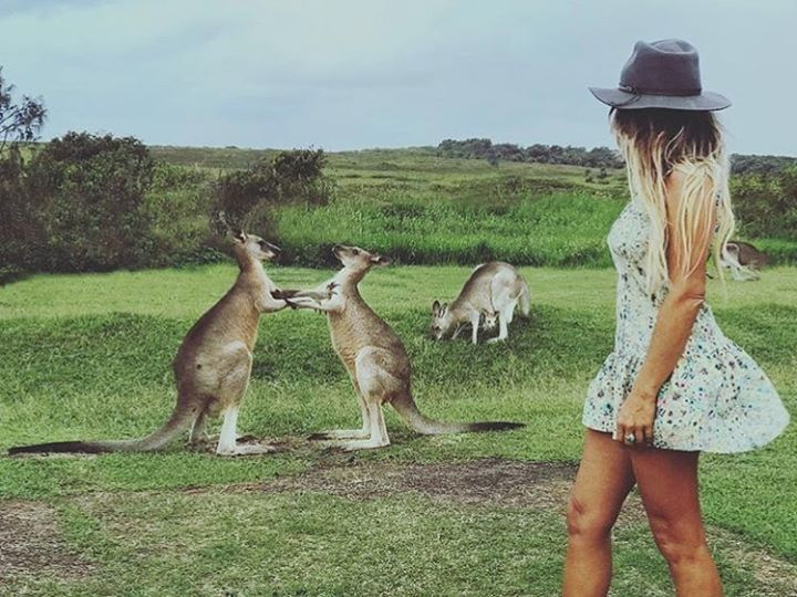Girl in floral dress and a Kangaroo