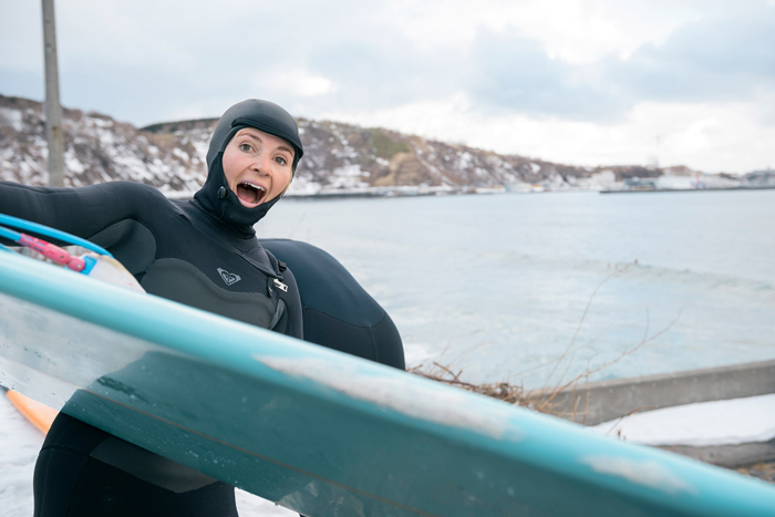 Lena Stoffel Way East cold water surfing