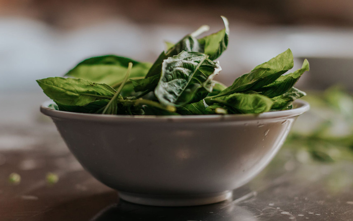 Bowl of spinach - energy boosting food
