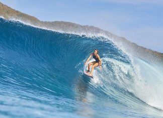 """Surer Girls Alana Blanchard surfing on Rip Curl Search trip to Indonesia called """"Stuck in Reception"""""""