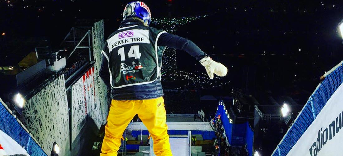 Aimiee fuller drops in to Olympic Snowboarding Big Air