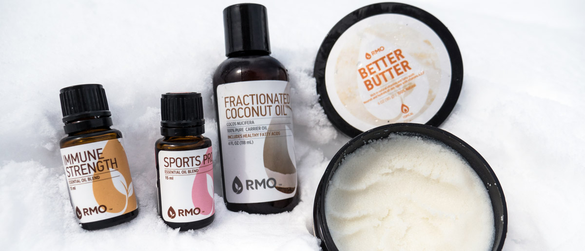 The Rocky Mountain Oils collection of essential oils and carrier oils for winter skincare