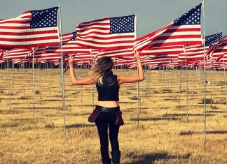All American girl by American flags