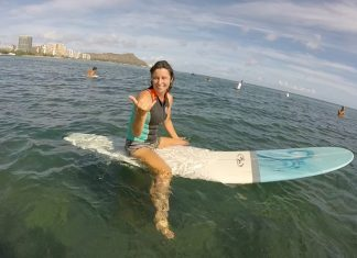 jane Mold Surfing as a Middle aged woman
