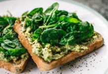 spinach avocado on toast - food for energy